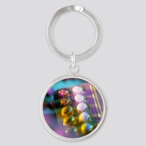 Oral contraceptive pills in packagi Round Keychain