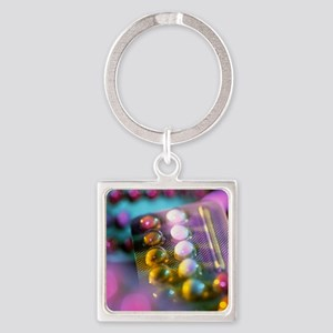 Oral contraceptive pills in packag Square Keychain