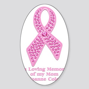 Breast Cancer Gem Ribbon Sticker (Oval)