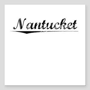 """Nantucket, Vintage Square Car Magnet 3"""" x 3"""""""