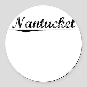 Nantucket, Vintage Round Car Magnet