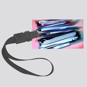 Overflowing in-tray Large Luggage Tag