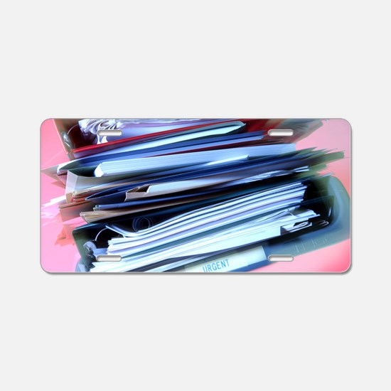 Overflowing in-tray Aluminum License Plate