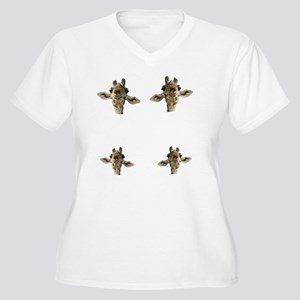 GoofyGiraffe Women's Plus Size V-Neck T-Shirt