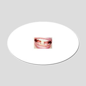 Pearl between teeth 20x12 Oval Wall Decal
