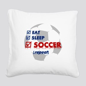 Eat, Sleep, Soccer Square Canvas Pillow