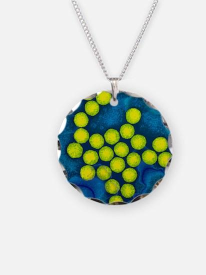 Polio viruses, TEM Necklace Circle Charm