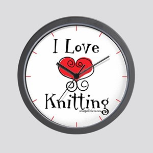 I Love (heart) Knitting Wall Clock