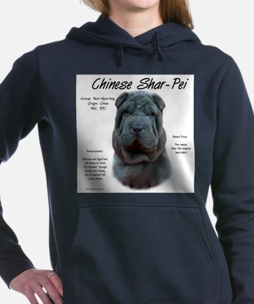 Shar-Pei (blue) Women's Hooded Sweatshirt