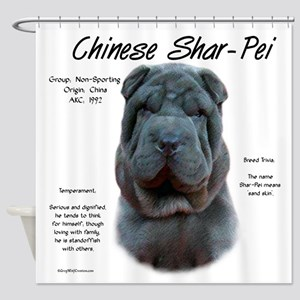 Shar-Pei (blue) Shower Curtain