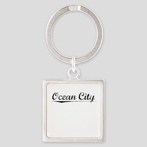 Ocean City, Vintage Square Keychain