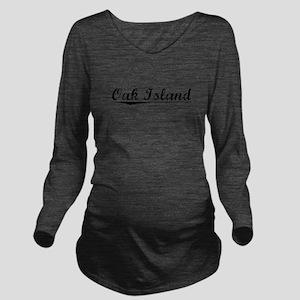 Oak Island, Vintage Long Sleeve Maternity T-Shirt