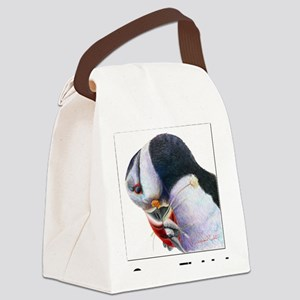 Gone Fishin - Puffin with fish Canvas Lunch Bag
