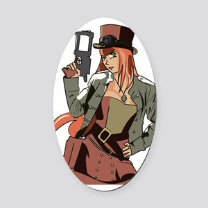 Steampunk Anime Girl Oval Car Magnet