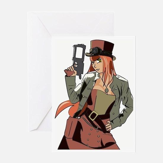 Steampunk Anime Girl Greeting Card