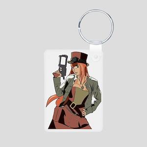 Steampunk Anime Girl Aluminum Photo Keychain