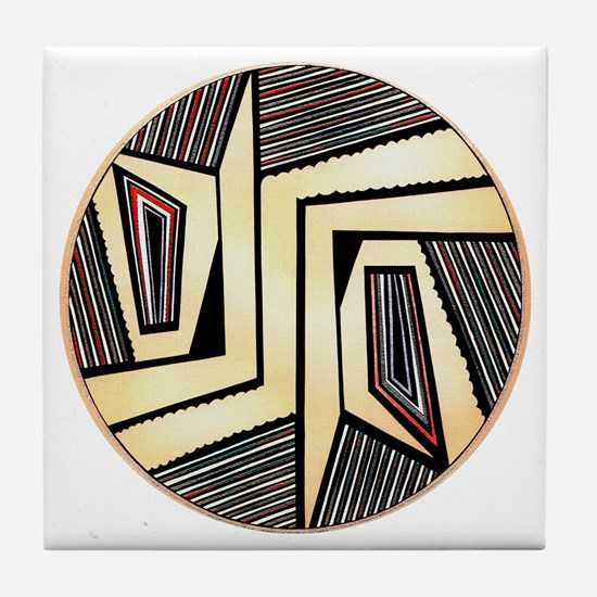 MIMBRES DOORS BOWL DESIGN Tile Coaster