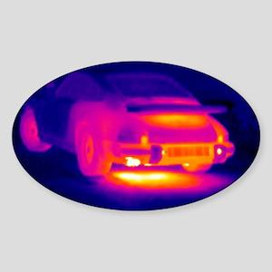 Porsche car, thermogram Sticker (Oval)