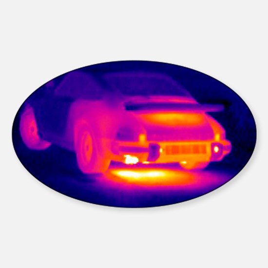 Porsche car, thermogram Sticker (Oval)