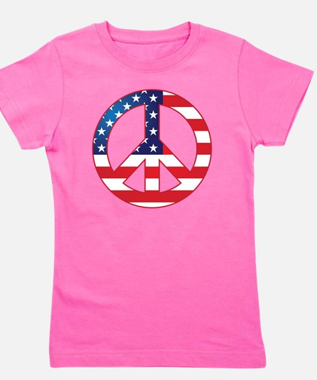 American Flag Peace Sign Girl's Tee