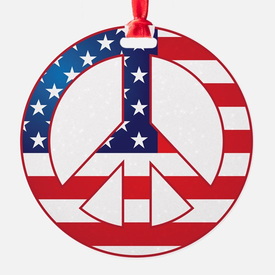 American Flag Peace Sign Ornament