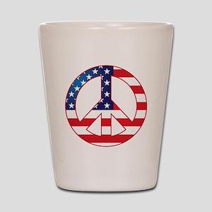 American Flag Peace Sign Shot Glass