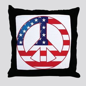 American Flag Peace Sign Throw Pillow
