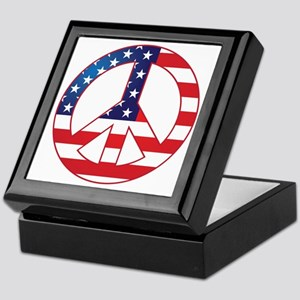 American Flag Peace Sign Keepsake Box