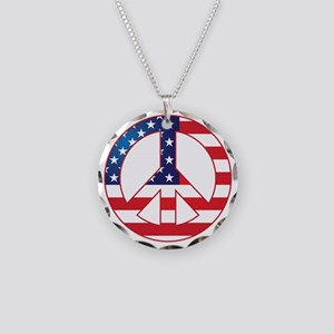 American Flag Peace Sign Necklace Circle Charm