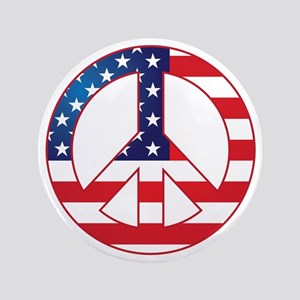 """American Flag Peace Sign 3.5"""" Button"""