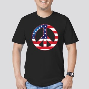 American Flag Peace Si Men's Fitted T-Shirt (dark)