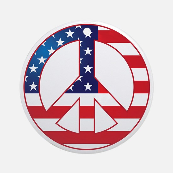 American Flag Peace Sign Round Ornament