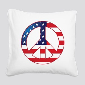 American Flag Peace Sign Square Canvas Pillow