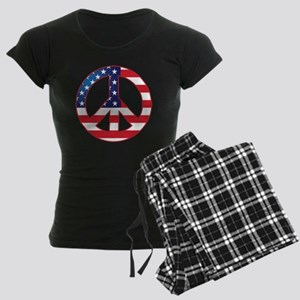 American Flag Peace Sign Women's Dark Pajamas