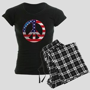 American Flag Peace Sign Women's Dark Pajamas