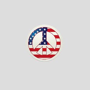 American Flag Peace Sign Mini Button