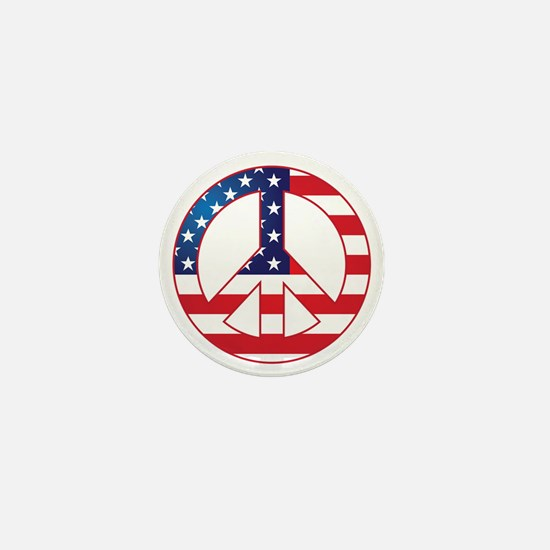 American Flag Peace Sign Mini Button