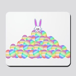 Easter Bunny On Pile Of Eggs Mousepad