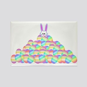 Easter Bunny On Pile Of Eggs Rectangle Magnet