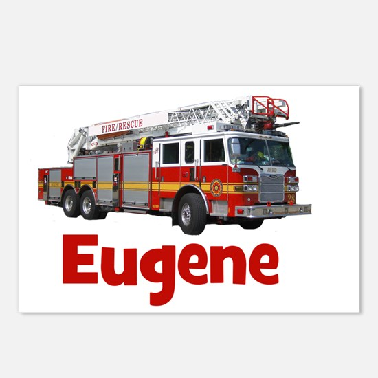 EUGENE - FIRE TRUCK - CUS Postcards (Package of 8)