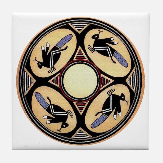 MIMBRES FOUR GRASSHOPPERS BOWL DESIGN Tile Coaster