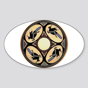 MIMBRES FOUR GRASSHOPPERS BOWL DESIGN Sticker (Ova