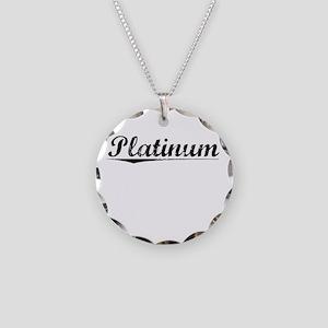 Platinum, Vintage Necklace Circle Charm