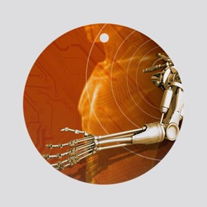 Prosthetic robotic arm, computer ar Round Ornament