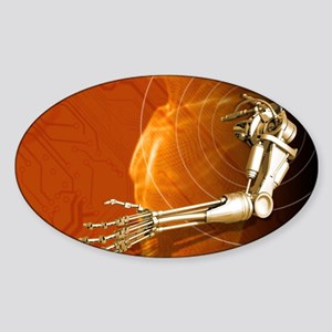 Prosthetic robotic arm, computer ar Sticker (Oval)