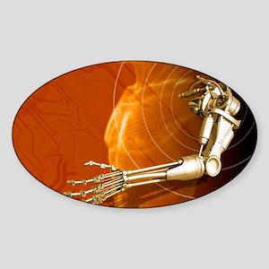 Prosthetic robotic arm, computer ar Sticker (Oval)