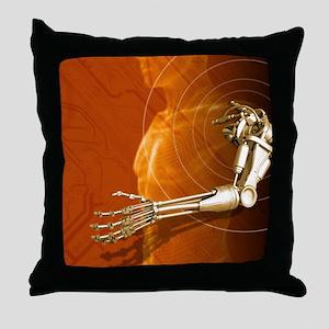 Prosthetic robotic arm, computer artw Throw Pillow