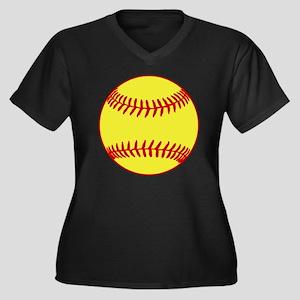 Sofball Women's Plus Size Dark V-Neck T-Shirt