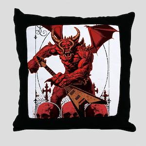Eternal Edge-Rock N Roll Devils Throw Pillow