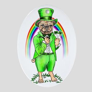Pug St Patrick's Day Oval Ornament